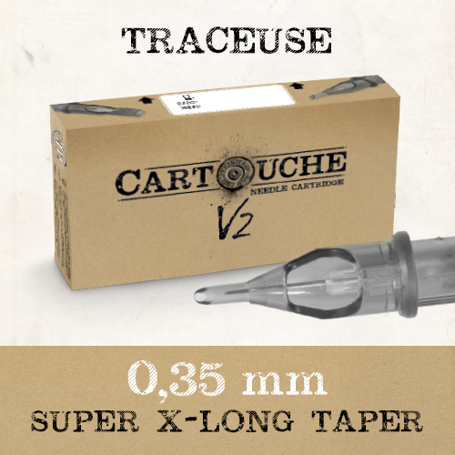 iTC Tattoo et Piercing - Cartouches V2 Traceuse RL Ø 0.35mm Super Xlong taper 20 pcs