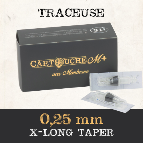 iTC Tattoo et Piercing - Cartouches M+  Traceuse RL Ø 0.25mm Xlong taper