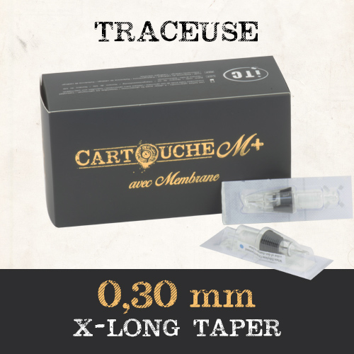 iTC Tattoo et Piercing - Cartouches M+  Traceuse RL Ø 0.30mm Xlong taper