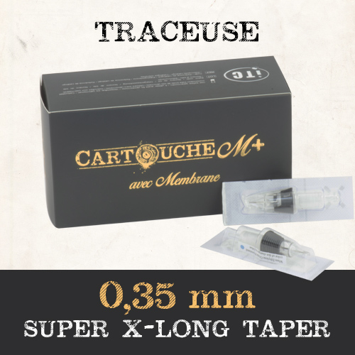 iTC Tattoo et Piercing - Cartouches M+  Traceuse RL Ø 0.35mm Super Xlong taper