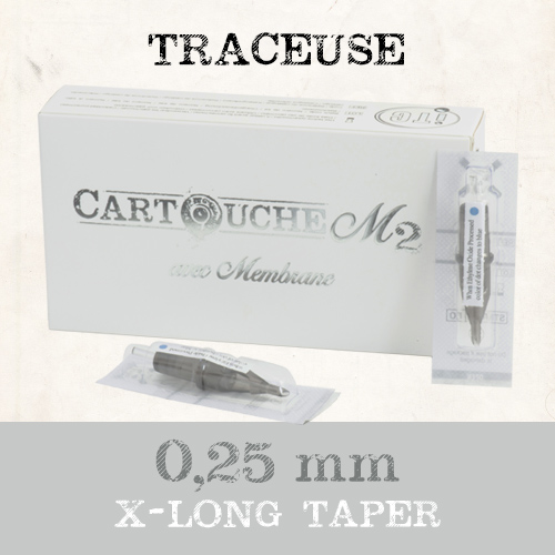 iTC Tattoo et Piercing - Cartouches M2 Traceuse RL Ø 0.25mm Xlong taper