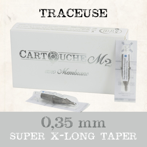 iTC Tattoo et Piercing - Cartouches M2 Traceuse RL Ø 0.35mm Super Xlong taper