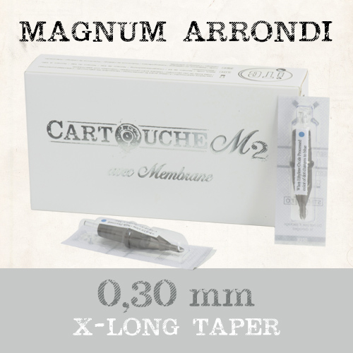 iTC Tattoo et Piercing - Cartouches M2 Magnum arrondi RM Ø 0.30mm Xlong taper