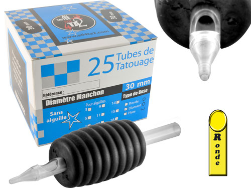 iTC Tattoo et Piercing - Tube stérile, grip caoutchouc 30mm, buse ronde, 25pcs.