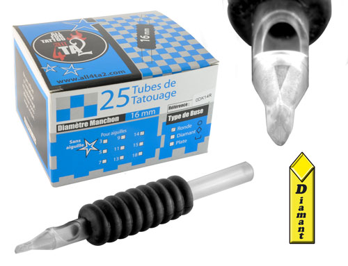 iTC Tattoo et Piercing - Tube st�rile, grip caoutchouc 16mm, buse diamant, 25pcs.