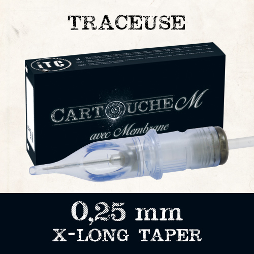iTC Tattoo et Piercing - Cartouches M Traceuse RL Ø 0.25mm Xlong taper