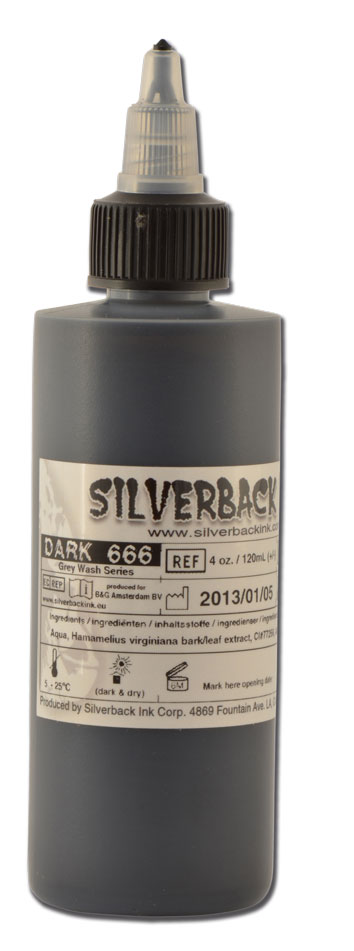 Encre SILVERBACKINK, stérile, 4 Oz 120ml,coloris : DARK 666 Greywash