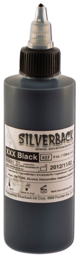 iTC Tattoo et Piercing - Encre SILVERBACKINK, stérile, 4 Oz (120ml),coloris :Black XXX