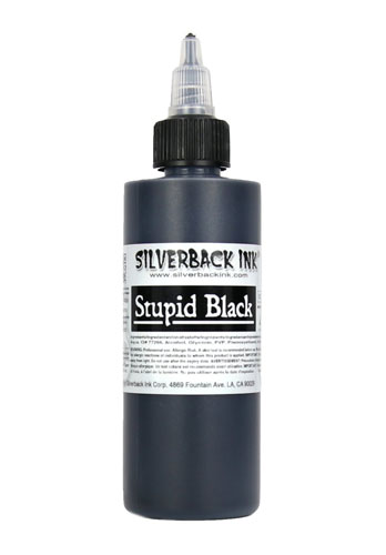 Encre SILVERBACKINK, stérile, 4 Oz (120ml),coloris : STUPID Black
