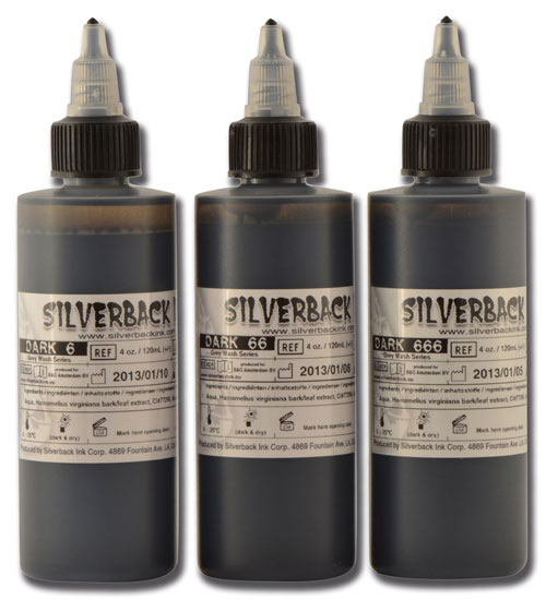 Encre SILVERBACKINK, stérile, Set de 3 nuances DARK 6-666 - 0I098B