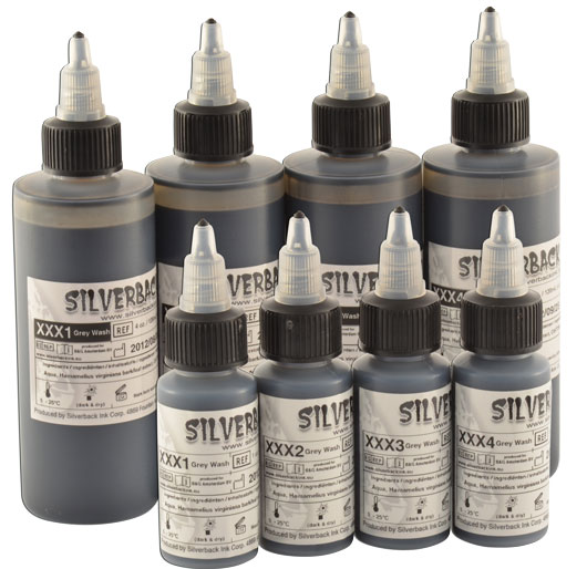 iTC Tattoo et Piercing - Encre SILVERBACKINK, stérile, Set de 4 nuances Greywash