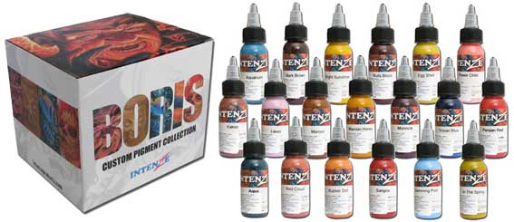 iTC Tattoo et Piercing - Encres stériles INTENZE, Set BORIS 19 couleurs en 30ml