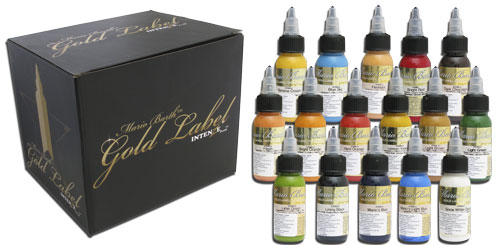 iTC Tattoo et Piercing - Encres stériles INTENZE, Set GOLD LABEL 16 couleurs en 30ml