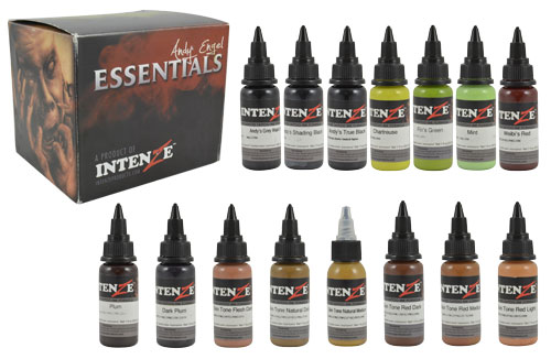 iTC Tattoo et Piercing - Encres stériles INTENZE, Set Andy Engel 19 couleurs en 30ml
