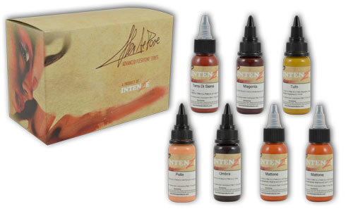 iTC Tattoo et Piercing - Encres stériles INTENZE, Set Alex De Pase 6 couleurs en 30ml
