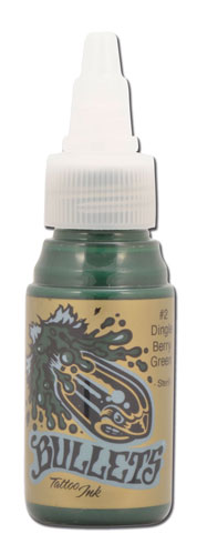 Encre BULLETS stérile 35ml, coloris DINGLEBERRY GREEN #2