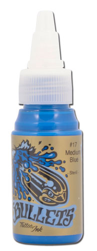 iTC Tattoo et Piercing - Encre BULLETS stérile 35ml, coloris MEDIUM BLUE #17