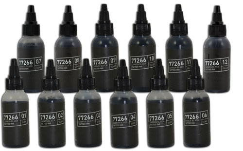 iTC Tattoo et Piercing - Lot de 12 encres 50ml BULLETS 77266 CARBON BLACK