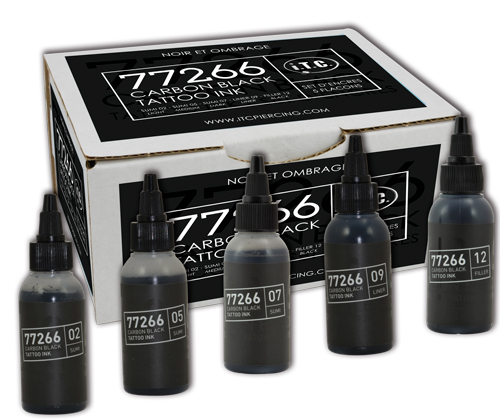 iTC Tattoo et Piercing - Set de 5 Encres 50ml BULLETS 77266 CARBON BLACK