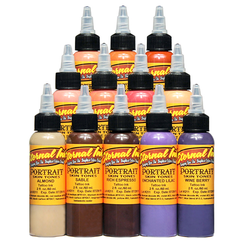 iTC Tattoo et Piercing - Encre ETERNAL, stérile Set Portrait skin tones 12pcs 1OZ/29ml