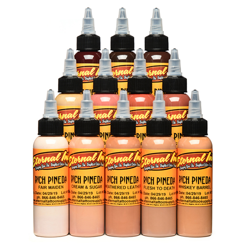 iTC Tattoo et Piercing - Encre ETERNAL, stérile Set Rich Pineda 12pcs 1OZ/29ml