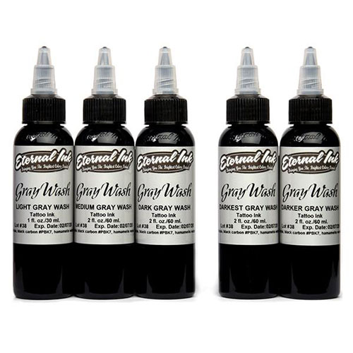 iTC Tattoo et Piercing - Encre ETERNAL, stérile Set Gray wash 5pcs 1OZ/29ml