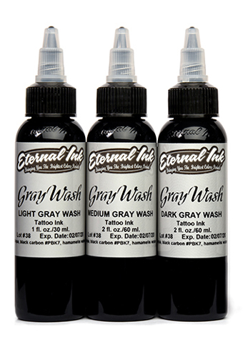iTC Tattoo et Piercing - Encre ETERNAL, stérile Set Gray wash 3pcs 4OZ/118ml