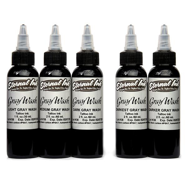 iTC Tattoo et Piercing - Encre ETERNAL, stérile Set Gray wash 5pcs 4OZ/118ml