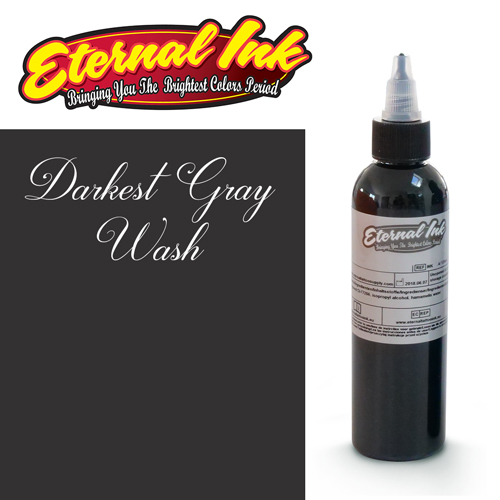 iTC Tattoo et Piercing - Encre ETERNAL, stérile, 4OZ/118ml DARKEST GRAY WASH