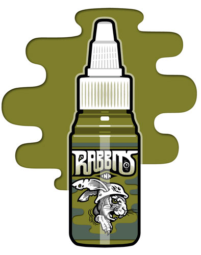 iTC Tattoo et Piercing - Encre RABBITS stérile 35 ml, coloris Bright Military Green