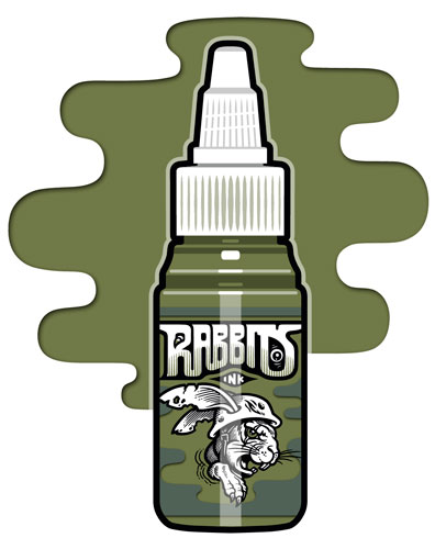 iTC Tattoo et Piercing - Encre RABBITS stérile 35 ml, coloris Military Green