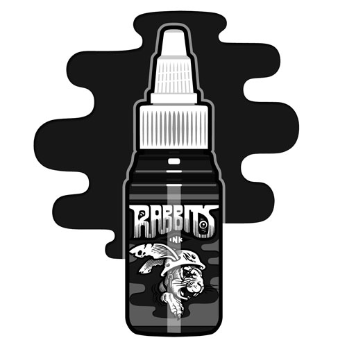 iTC Tattoo et Piercing - Encre RABBITS stérile 35 ml, coloris Black Erection Black