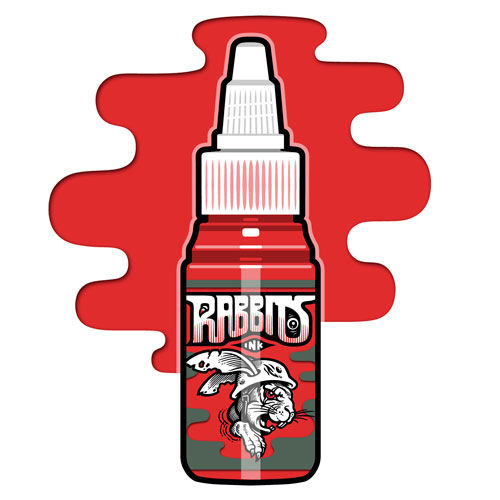 iTC Tattoo et Piercing - Encre RABBITS stérile 35 ml, coloris Basic Red
