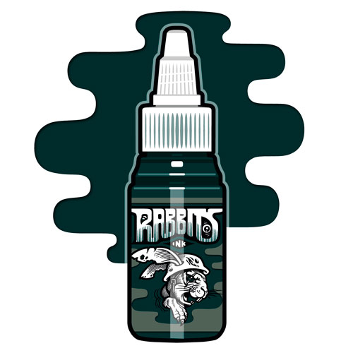 iTC Tattoo et Piercing - Encre RABBITS stérile 35 ml, coloris Black Hole Green