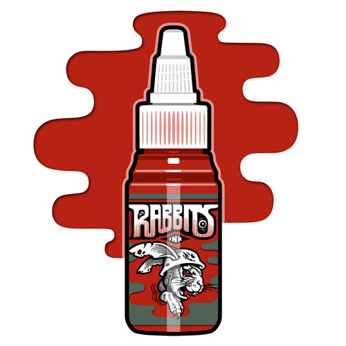 iTC Tattoo et Piercing - Encre RABBITS stérile 35 ml, coloris Karsten Koch's Dark Red