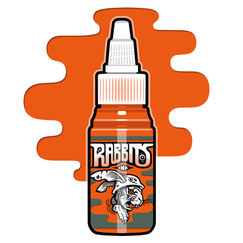 iTC Tattoo et Piercing - Encre RABBITS stérile 35 ml, coloris PTs Orange Bomb