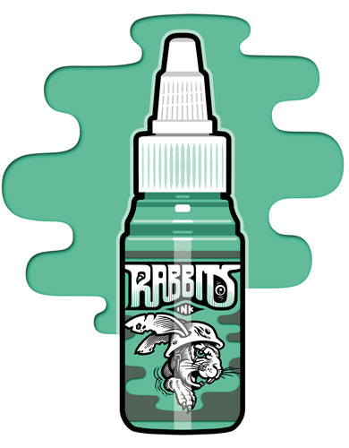 iTC Tattoo et Piercing - Encre RABBITS stérile 35 ml, coloris PTs Crystal Mint