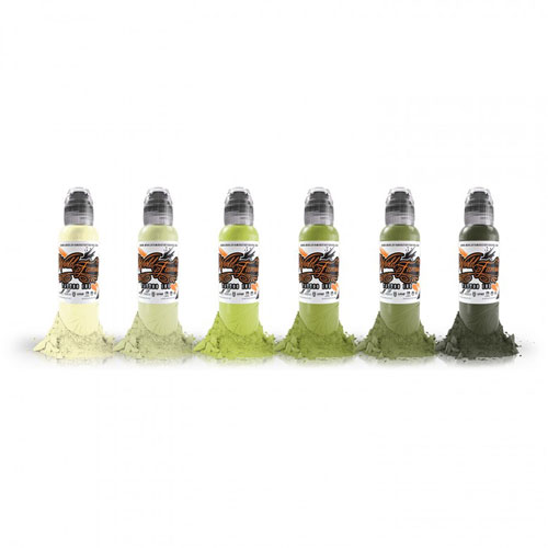 Encres stériles World Famous Ink, Rotten Green 6 Couleurs 30ml