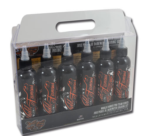 iTC Tattoo et Piercing - Encres stériles World Famous Ink,J PEREZ Jr Set Noir et Grey 6X120ml
