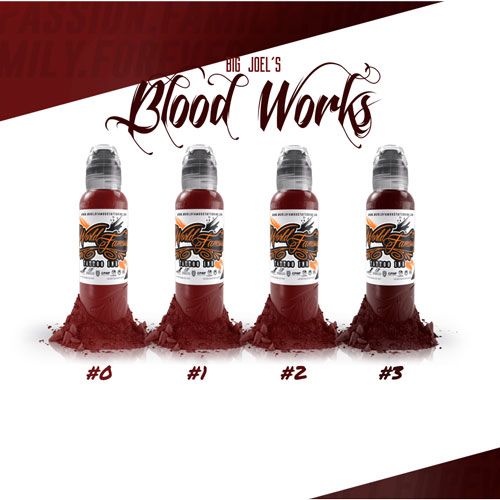 iTC Tattoo et Piercing - Encres Stériles World Famous Ink - Joel's Bloodworks  set 1oz 4x30ml