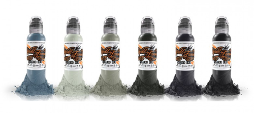 iTC Tattoo et Piercing - World Famous Ink, Poch Muted Storm Set 6x30ml