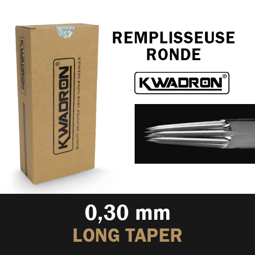 iTC Tattoo et Piercing - KWADRON Round Shader stérile, Aiguilles Ø 0.30mm,Long Taper, 50 pcs