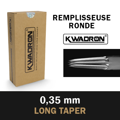 iTC Tattoo et Piercing - KWADRON Round Shader st�rile, Aiguilles � 0.35mm, Long Taper, 50pcs