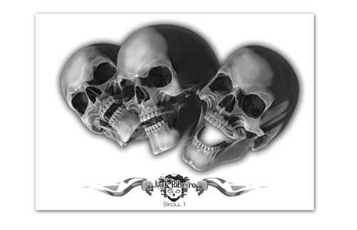 iTC Tattoo et Piercing - Flash tattoo JACK RIBEIRO, Skull 1 , 13 A3