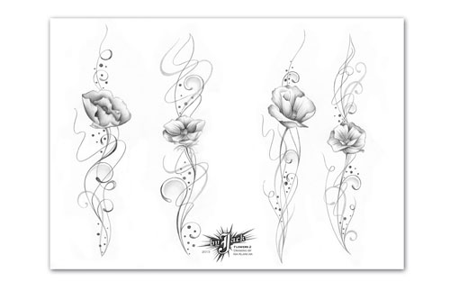 iTC Tattoo et Piercing - Flash tattoo JACK RIBEIRO, ISA Flowers 2 , 15 A3