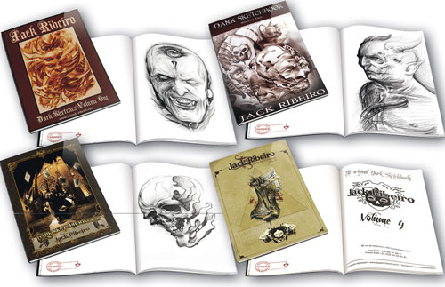 iTC Tattoo et Piercing - Sketchbook JACK RIBEIRO, lots des 4 volumes, 194 croquis