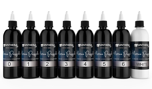 iTC Tattoo et Piercing - Encre PANTHERA stérile-Set de 8 nuances MATTEO PASQUALIN SHADERS 30ml