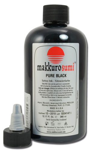 iTC Tattoo et Piercing - Encre stérile Makkuro Sumi. PURE BLACK. 360ml