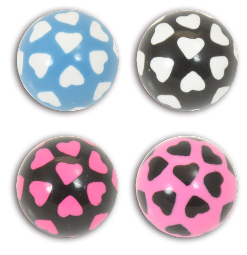 iTC Tattoo et Piercing - LOT DE 5 Boules acryl. 1.6x6 mm motif c%u0153ur
