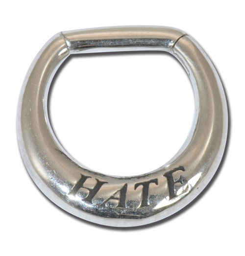 iTC Tattoo et Piercing - Anneau acier charni�re septum 1.6x8mm love and hate